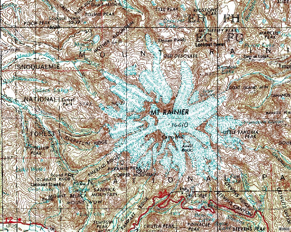 Mt Rainier Topographic Map.Lab Streams